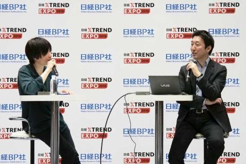 SHOWROOMの前田裕二社長(左)とアジャイルメディア・ネットワーク取締役CMO(最高マーケティング責任者)の徳力基彦氏(右)