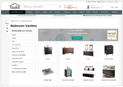 Build.comのサイトでは、家具から照明器具、蛇口やシンク、ドアの取っ手など、あらゆるものがオンラインで購入可能