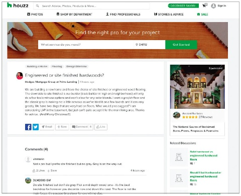 Houzz.comは、タイルなどの品ぞろえが多い他、体験談が豊富に掲載され参考になる