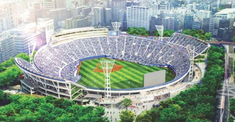 横浜スタジアムの完成予想図。完成後は約3万5000人を収容可能になる(画像提供:横浜スタジアム)