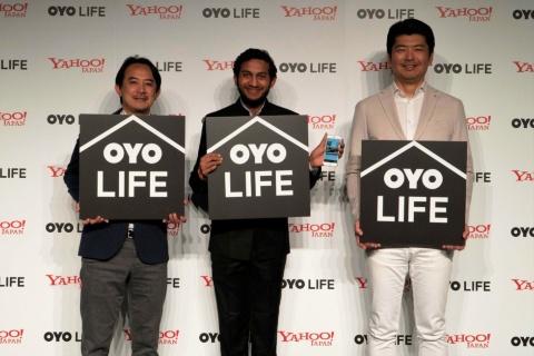 左からヤフー代表取締役社長CEOの川邊健太郎氏、OYO CEOのリテシュ・アガルワル氏、勝瀬博則氏