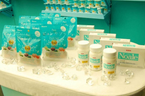 2019年4月2日に発売したプラズマ乳酸菌配合の「ピュレサプリグミ iMUSEプラズマ乳酸菌」(左)とKW乳酸菌を使用した「Noale(ノアレ)」(右)