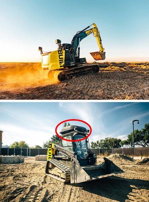 米ビルド・ロボティクスのパワーショベルとブルドーザー。車両の上に付いているのが、同社が開発する後付けのキットで、現場の整地作業を自動化する(www.builtrobotics.com)