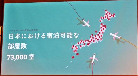 日本で宿泊可能な部屋数が7万3000室となったAirbnb