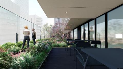 大丸心斎橋が掲げる「5つのフィロソフィ」の1つ「地域とともに、シビックプライドの向上・復権をめざす」を具現化した7階の心斎橋テラス(仮称)。テラスの環境をフロアに引き込み、癒やしの空間に