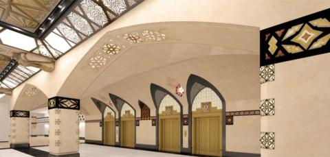 旧エレベーターホールの建て替え後完成予想図。保存価値の高い内装デザインを可能な限り再現。採取可能な部材は現物を再利用し、困難な部材は原形を型取りして復元した