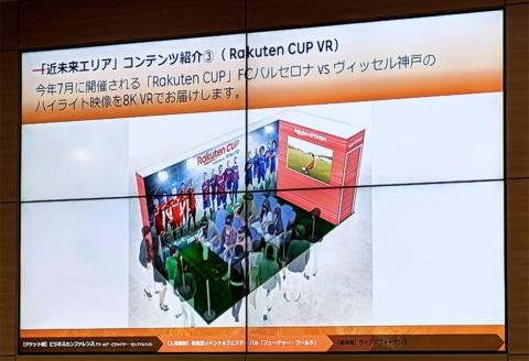 「Rakuten CUP VR」では、楽天がスポンサーを務めるFCバルセロナとヴィッセル神戸の試合を8K VR映像で再現。超高精細8Kの映像で実際にピッチにいるかのような臨場感を味わえる