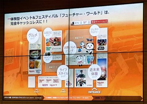 体験型イベント&フェスティバル「フューチャー・ワールド」には「Rakuten EXPRESS」などのサービスも出展する。物販や飲食は完全キャッシュレスとなっている