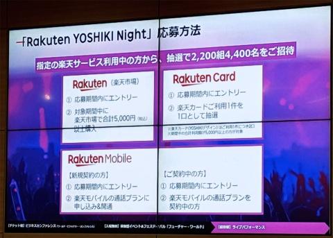 8月3日のスペシャルゲストはX JAPANのYOSHIKI。19年6月27日までに「楽天市場で合計5000円(税込み)以上の買い物をする」といった条件を満たしたユーザーを抽選で招待する