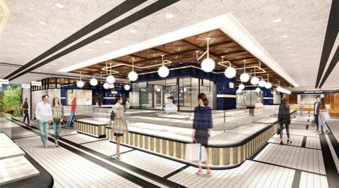 "「TOKYU Foodshow EDGE」は地下2階と1階(画像は地下2階のイメージ)地下2階は総菜を中心に扱い、ライブキッチンやイートインスペースを設ける。1階のコンセプトは""スイーツパビリオン""。フランス・パリの人気パティスリー店「MORI YOSHIDA」や都内各地から集めた話題のスイーツをそろえる"