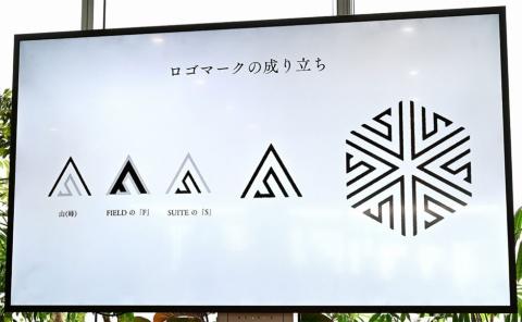 「山(峰)」、FIELDの「F」、SUITEの「S」を組み合わせて作った「FIELD SUITE」のロゴ