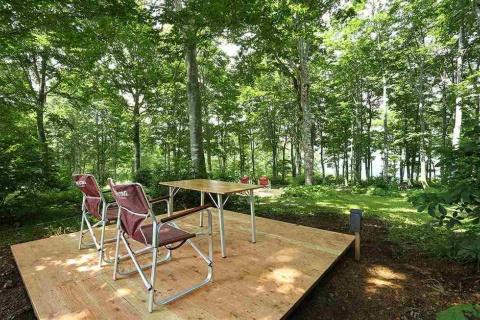 """山頂シェアオフィスとして使えるイワタケグリーンパークの森のテラス。働き方改革の1つとして注目を集める、休暇を兼ねたリモートワーク""""ワーケーション""""を実現(写真提供/白馬観光開発)"""