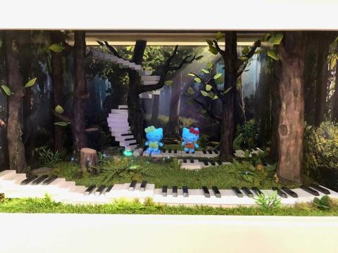 ハローキティが立体的な映像として映し出される3Dホログラムなどのメディアアートを駆使した2階「ハローキティ ドリームギャラリー」