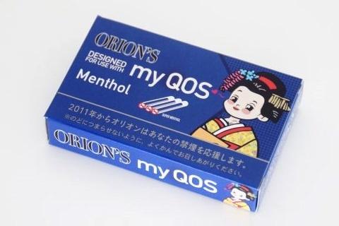 加熱式たばこをモチーフにしたミント菓子「マイコス」は6本入り50円(税別)。大手たばこ会社からのクレームを乗り切るため、ローマ字表記を変更した(写真は「myCOS」に変更する前のパッケージ)。舞妓のイラストもしゃれが利いている