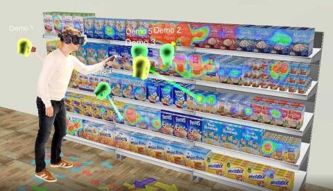 VRマーケティング調査サービスでは、模擬店舗より手軽にパッケージ調査などができる