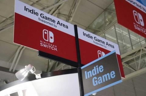 東京ゲームショウ2019のインディーズゲームコーナー。Nintendo Switchがスポンサーを務めた。こうした形で若き開発者を支援するようになっている