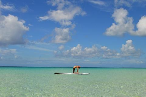 サーフボードの上で逆立ち!? ハワイで大流行の「SUPヨガ」って何?(画像)