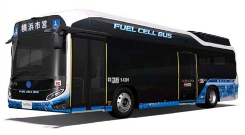 ピアラインを運行する燃料電池バス