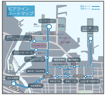 ピアラインの運行ルートは朝夕と日中で異なる