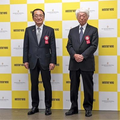 新港ふ頭客船ターミナルおよび横浜岡田屋の岡田伸浩社長(左)と横浜グランドインターコンチネンタルホテルの堤猶二会長