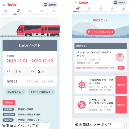 Izukoのデジタルフリーパス(写真左側)と、観光チケットの購入画面