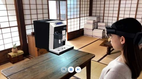 3Dホログラムを仮想的に映し出すことで、時間や場所にとらわれずコールセンター業務が可能になる(写真提供/日本マイクロソフト)