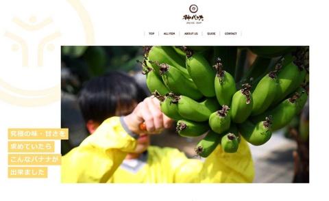 「神バナナ」を開発した農業法人・神バナナのホームページ。同法人の本社は鹿児島県南九州市だが、19年3月からみやき町で栽培を始めている