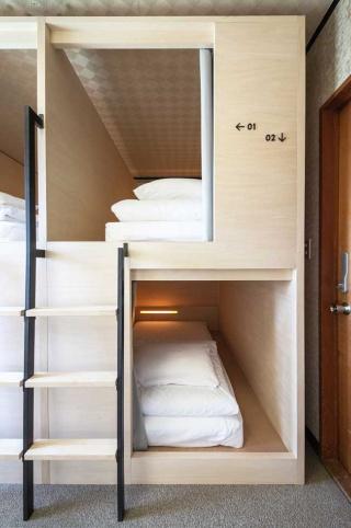 ドミトリールームはスタイリッシュなデザイン。ベッドの大きさは1.5×2.0メートルで、電源も設置。ツイン、トリプルタイプの客室もあり、料金は1人1泊5000~7000円(税別)