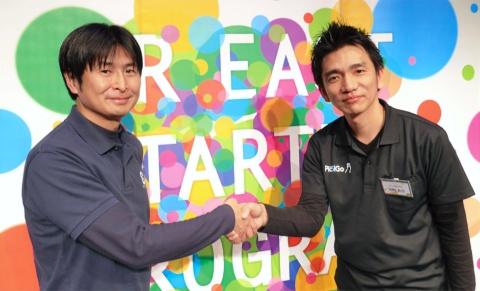 JR東日本スタートアップの柴田裕社長と(左)CBcloudの皆川拓也執行役員