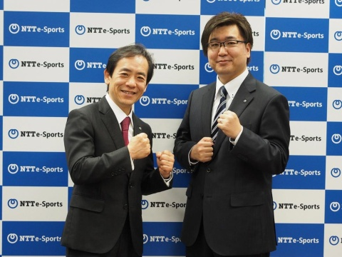 NTTe-Sportsの社長に就任予定の澁谷直樹氏(左)と副社長に就任予定の影澤潤一氏(右)