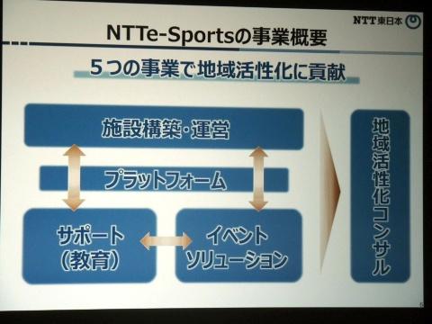 NTTe-Sportsの事業概要。施設構築。運営や教育面のサポートなど5つの事業で地方のeスポーツを支援する