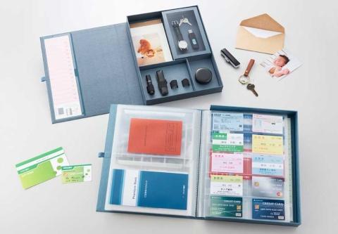 ポケットファイルとフリーボックスをセットにした自分まとめファイル。印鑑と通帳を別々に保管できる
