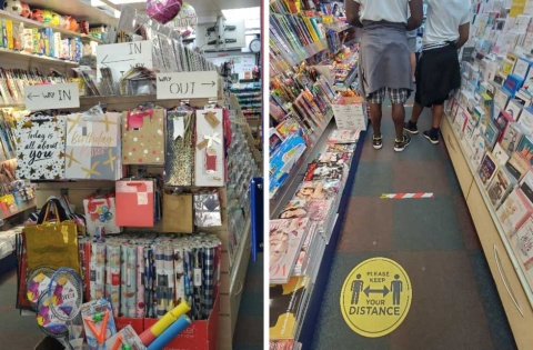 小売店の店内の様子。前後の距離をとるため、通路にはテープが貼られている