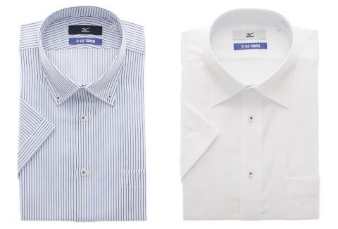 ミズノと共同企画した「アイスタッチドレスシャツ」。洗濯後のシワを軽減する「形態安定加工」が施されている。半袖・長袖ともに店頭価格は3900円(税抜)