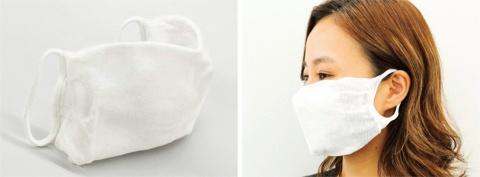 TBMとBioworksが環境に優しい素材のポリ乳酸で開発した「Bio Face」。右は装着したところ。繰り返し洗える他、肌触りも良いという。1500円(税別)