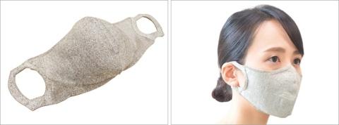ミツフジが夏向けに開発した「100回洗える夏マスク/hamon AGマスク」。右は装着したところ。新しい糸を開発した他、耳掛けの部分も新たにデザインし直した。3000円(税別)
