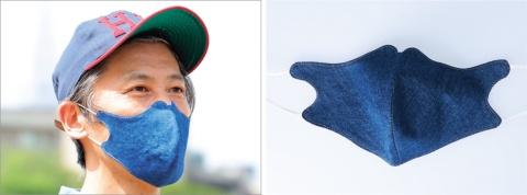 ライトオンの「和紙デニム」を使った「デニムマスク」。裏地には抗菌や防臭の効果や、触るとひんやりと感じる生地を使用しているので夏に向いている。1290円(税別)