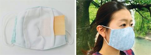 大橋量器はヒノキが香る「hinoki MASUKU」を販売している。左の写真はヒノキのシートをマスクに入れているところ。2300円(税別)。同社は升の製造・販売を手掛けるため、マスクのデザインにも升をあしらった