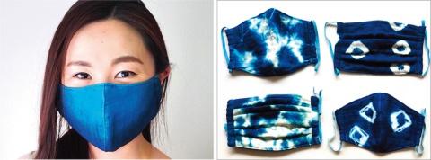 Chanoisが久留米絣の池田絣工房と開発した「藍染めガーゼ 快適サラサラマスク」シリーズ。藍染めで作っているため、柄がそれぞれ異なるのも大きな特徴。2200円(税込み)
