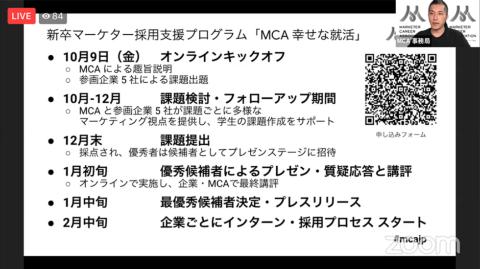 20年10月からスタートする「MCA 幸せな就活」は22年に国内外大学・大学院卒業予定の学生が対象。優秀者として選ばれた学生は協力企業のマーケティング関連職のインターンシップや採用面接への参加権を得られる