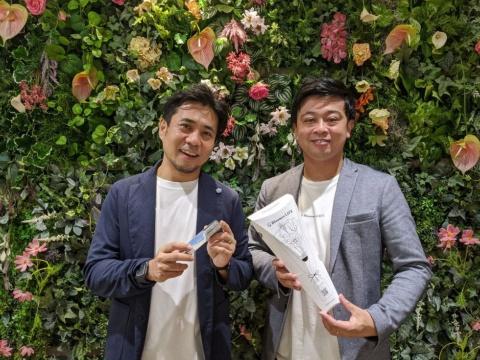 MOON-Xの長谷川晋CEO(左)と「Bloomee LIFE」を運営するCrunch Styleの武井亮太CEO(右)