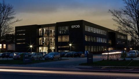 EPOSの本社社屋。よく見るとゼンハイザーコミュニケーションズの社屋と同じ建物だと分かる