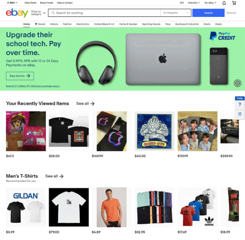 米国のECモール「eBay」のトップページ