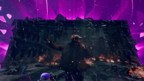 ゲーム内の大型スクリーンに登場した米津玄師 © 2020, Epic Games, Inc