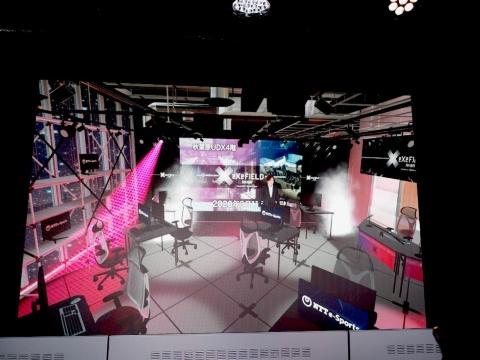 VR空間のeXeField Akiba。ライティングの演出などの確認もできる。また、ビル内では行えないスモークなど、VRならではの演出もできる