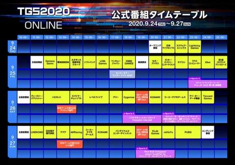 東京ゲームショウ2020 オンライン 公式配信番組タイムテーブル(9月14日時点のもの)
