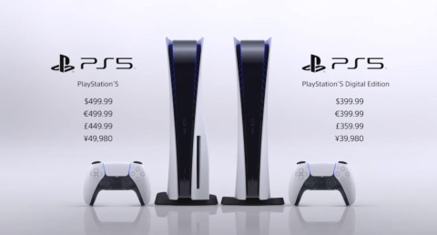 「PlayStation 5」(左)と「PlayStation 5 デジタル・エディション」(右)(出所/SIEの映像イベント)