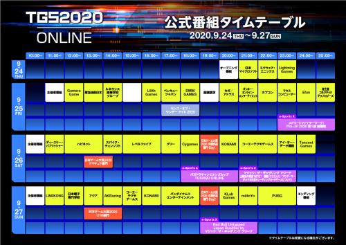 完全オンラインになった東京ゲームショウ2020の公式番組タイムテーブル