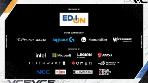 「EDION VALORANT CUP」の協賛企業にはPCメーカーがずらりと並んだ