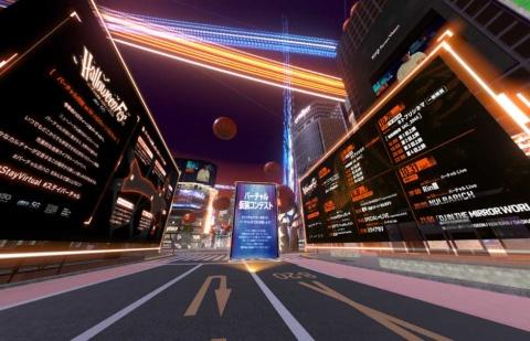 ハロウィーンフェスの期間中、バーチャル渋谷には巨大な掲示板が出現し、その日のイベントや開催中のミニゲームなどを確認できるようになっていた
